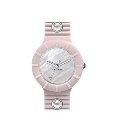Orologio HIP HOP donna PEARLS quadrante bianco e cinturino in silicone, glam rosa, movimento SOLO TEMPO - 3H QUARZO