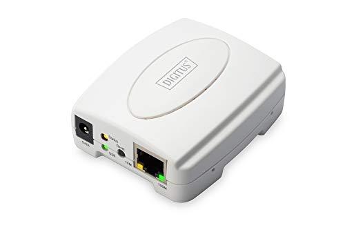 DIGITUS Fast Ethernet Printserver mit USB 2.0, 1x RJ45, 1x USB A, betriebssystem unabhängig, Drucker Server, DHCP fähig, TCP/IP, Einfache Installation, inkl. Netzteil, Weiß