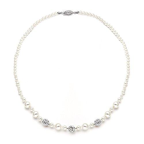 Mariell Ivory Pearl & Swarovski Rhinestone Crystal Wedding Tennis Necklace for Women, Jewelry for Brides