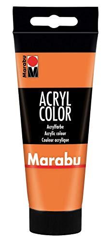 Marabu 12010050013 - Acryl Color orange 100 ml, cremige Acrylfarbe auf Wasserbasis, schnell trocknend, lichtecht, wasserfest, zum Auftragen mit Pinsel und Schwamm auf Leinwand, Papier und Holz