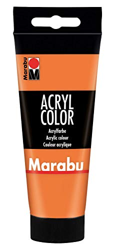 Marabu 12010050013 - Acryl Color orange 100 ml, cremige Acrylfarbe auf Wasserbasis, schnell trocknend, lichtecht, wasserfest, zum Auftragen mit Pinsel und Schwamm auf...