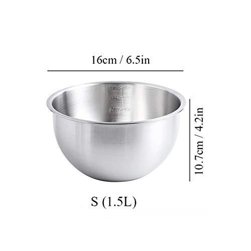 PANJAZE Cuenco mezclador profundo de acero inoxidable, tazón de mezcla con escala de mezcla profunda cocina de metal, ensalada para hornear cuencos de metal de cocina para hornear y marinar, lavavajil
