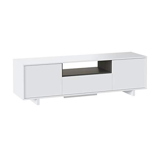 Habitdesign 0G6631BO - Mueble de comedor tv moderno , Color blanco brillo y ceniza, dimensiones 150 x 46 x 41 cm de fondo
