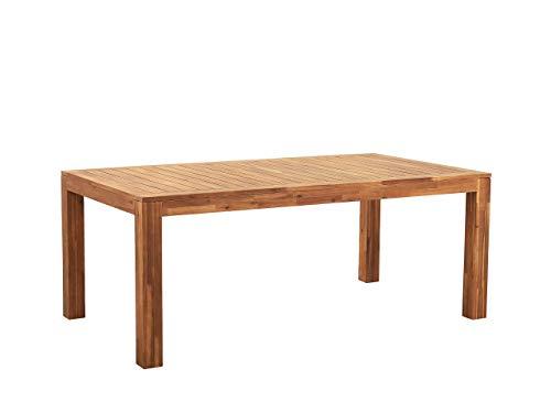 Beliani Gartentisch aus zertifiziertem Akazienholz 190 x 105 cm Rustikaler Stil Monsano