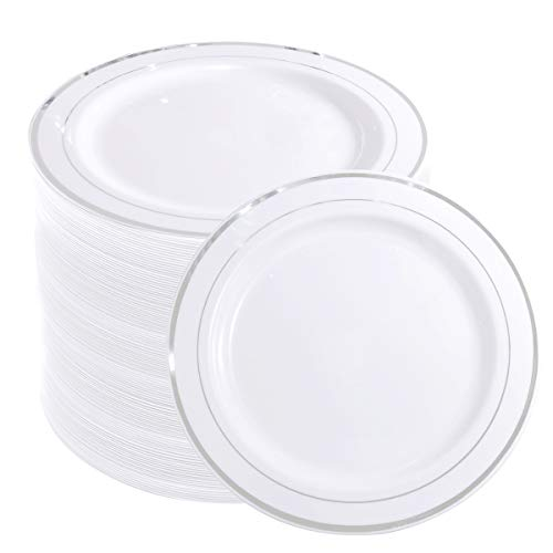 WELLIFE 144 Pieces Silver Plastic Dessert Plates, 7.5 inch Disposable Salad Plates, Premium White Appetizer Plates with Silver Rim, Ideal for Party and Wedding