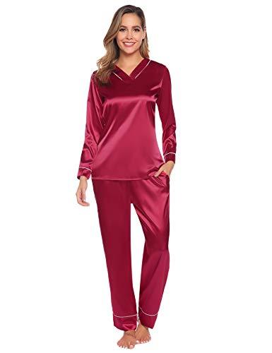 Hawiton Damen Schlafanzug Lang Satin Pyjama Nachtwäsche Sleepwear V Ausschnitt (Uni-Weinrot, Large)