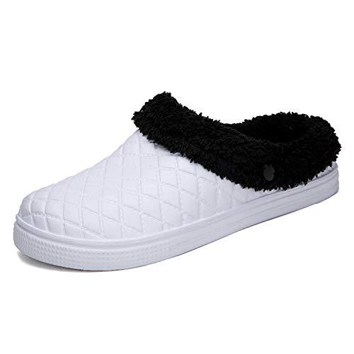 Small-shop&slippers Winter Warme Hausschuhe Herren Hausschuhe Indoor Baumwolle Pantoffel Casual Crocus Clogs Hausschuhe, Weiá (weiß), 43 M EU