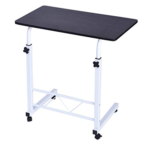 ShaggyDogz Home Computer Desk Cart, Can Be Lifted and Lowered Bedside Table, Height Adjustable Mobile Laptop Stand Desk Black
