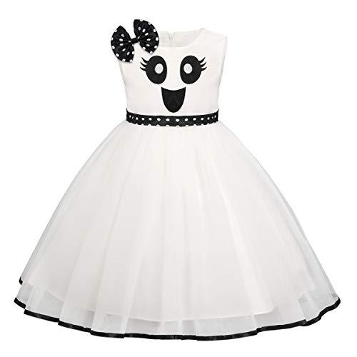 FYMNSI - Costume da principessa per bambina, per Halloween, travestimento da fantasma, zucca a una linea di tulle da principessa, per carnevale, feste, cosplay, per 6 mesi, 6 anni bianco 2-3 Anni