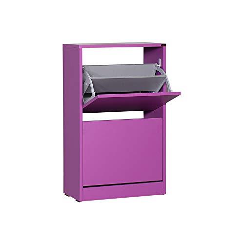 Adore Furniture Moderner Schuhschrank mit zwei Etagen, für 10 Paare, idealer Flurschrank, mattes Finish, Violett