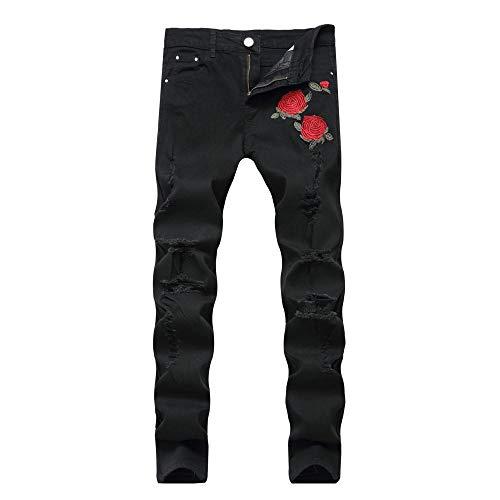 Zerrissene Jeans Mit Stickerei Herren Mit Blumen Rose Bestickte Herren Jeans Jeans Stretch Skinny Push Größe 40 42 Jeans Hose 36 Schwarz