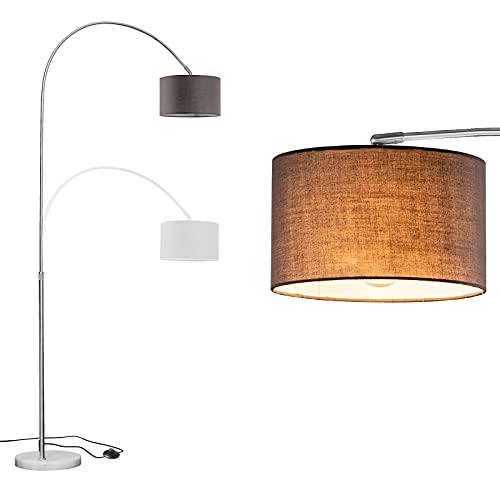 WUDSEE Lámpara de Arco Lámpara de Pie Arqueada Ajustable en Altura con Base de Mármol y Pantalla de Tela Adecuada para Lámparas Normales de Hasta 60 W, E27 Enchufe, Color: Altura125-180 CM, Gris