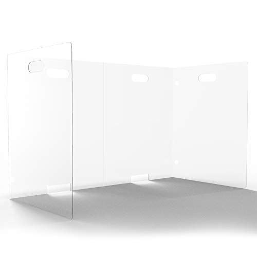 Sneeze Guard for Desk - Clear Plastic Desk Shields for Classroom - Portable Barrier Panel for Desktop, Table or Countertop - Small Clear Shields for Student Desks (Kindergarten, Schools, Office)