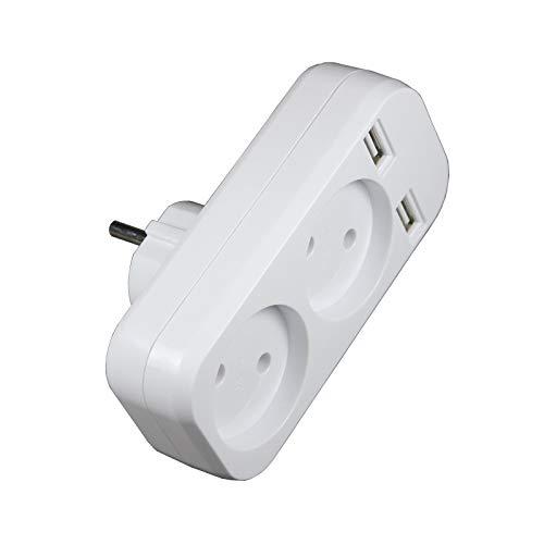 Bordied Estensione Doppia Presa Adattatore con UE 2 USB Striscia di Potere della Spina Adattatore Intelligente Socket (Colore : White Color)