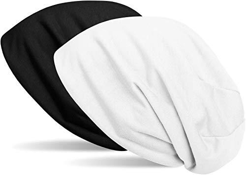 styleBREAKER Beanie Wendemütze in Unifarben, Slouch Mütze, leicht und weich, Longbeanie, Unisex 04024115, Farbe:Schwarz/Weiß
