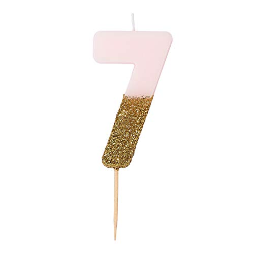 """Talking Tables Glitter-Zahlenkerze (7), pink, Mehrfarbig BDAY-CANDLE-7 """"height 8cm, 3"""""""""""""""