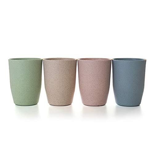 Upstyle Umweltfreundlicher, gesunder Weizenstrohhalm, biologisch abbaubar, Bambus-Kunststoff-Tasse, Becher, für Wasser, Kaffee, Milch, Saft Farbe 1