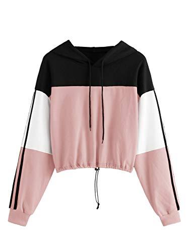 SweatyRocks Women's Casual Long Sleeve Colorblock Pullover Hoodie Sweatshirt Crop Top Pink M