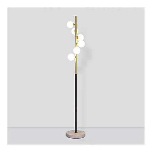 FABAX Staande lamp, Nordic Creative smeedijzeren vloerlamp 6 glazen lampenkap staande lampen voor slaapkamer woonkamer nachtkastje staande lamp