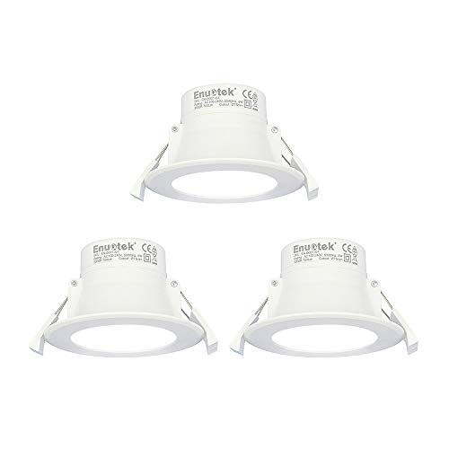 Lamparas Plafones Focos LED Empotrables de Techo 8W Downlight LED Blanco Frio 5000K Agujero Φ70-85MM AC100~240V IP44 para Cocina Baño Salon Paquete de 3 de Enuotek