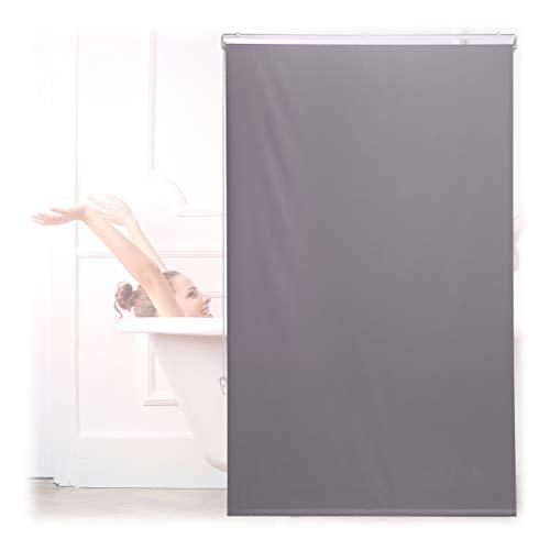 Relaxdays Duschrollo, 100x240 cm, Seilzugrollo für Dusche & Badewanne, Decke & Fenster, Badrollo wasserabweisend, grau, 10034185_1050