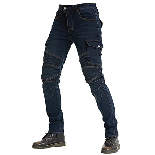KAISUN Moto Hommes Jeans, Protection Moto Pantalon, avec Protection Doublure Moto Pantalon D'Équitation avec Protéger Pads (Bleu,XS)