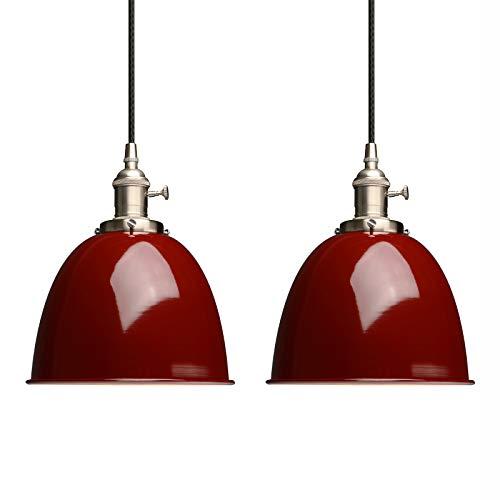 Phansthy 2 Stücke innen Modernes Deckenhalbkreis mit Metall-Schirm Pendelleuchte Hängeleuchte Vintage Hängelampen Hängeleuchte Pendelleuchten Loft-Pendelleuchte im Landstil (Rot)