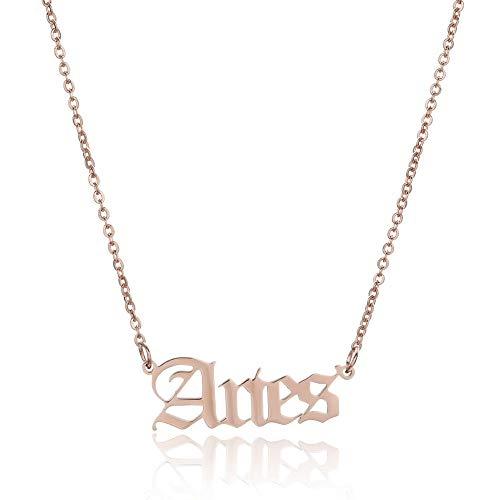 Fnho Crystal Rhinestone Saturn,Pearl Necklaces White Planet Crystal,Collar con Letras de constelación, Colgante de Personalidad Retro-Oro Rosa_Aries