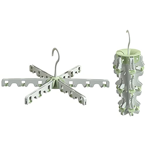ANEWSIR 1PC Colgador de Ropa de plástico,con 18 Pinzas,ropa ropa multifuncional plegable,Secador de redondo (blanco + verde)