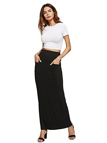 MakeMeChic Women's Solid Basic Below Knee Stretchy Pencil Skirt Black-Pocket M