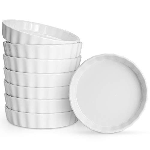 Foraineam Set of 8 Pieces Porcelain Shallow Ramekins, 5 Ounce Creme Brulee Ramekin Dishes Round Baking Ramekins Set