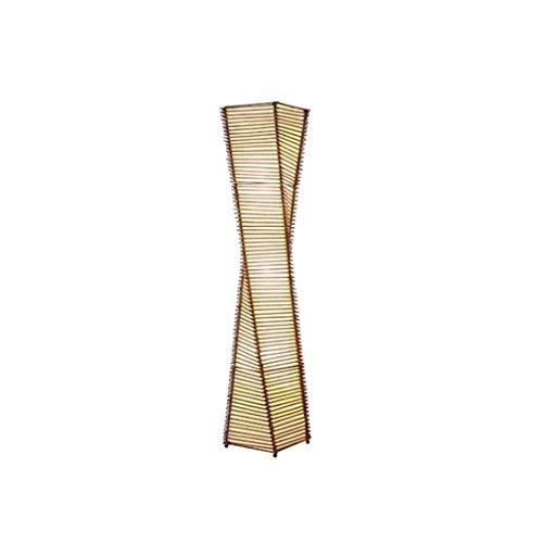 WYFX Lámparas de pie Lámpara de pie Japonesa Zen Lámparas de pie del sudeste asiático para Sala de Estar Madera Maciza Hotel Inn Luminaria de bambú Lámpara de pie LED Linterna Lámpara de pie Led