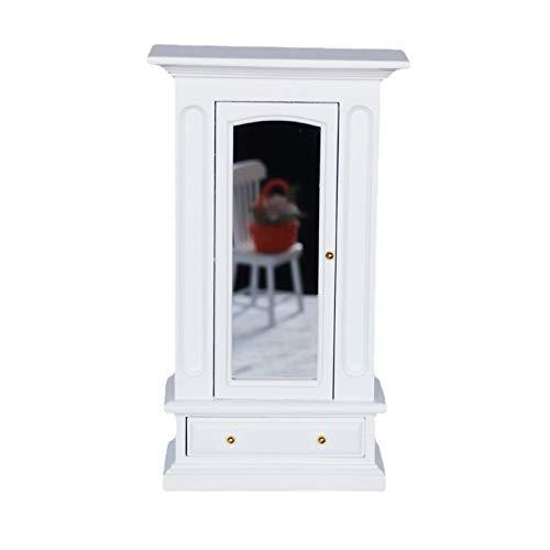 Sonoaud Mini-Kabinett mit Spiegel, Puppenzubehör, Holzimitat, Schrankdekoration für Geschenke, Möbeldekoration, Geschenk für Kleinkinder ab 3 Jahren, weiß