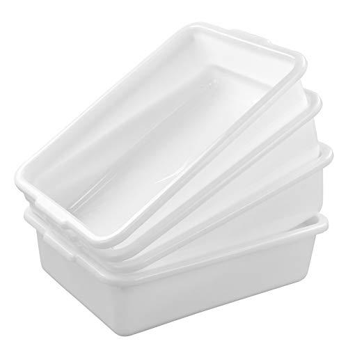 Dehouse White Plastic Bus Pans 4 Packs Food Service Bus Tubs 8 Liters