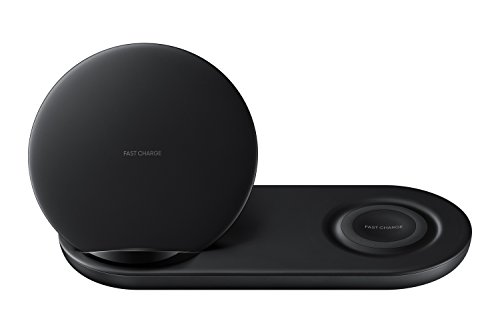 Samsung Wireless Charger Duo, Fast Charge Stand & Pad, Universally Compatible with Qi Enabled Phones and Select Samsung Watches (US Version), Black