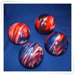 BuyBocceBalls Premium Quality EPCO 4 Ball 107mm Tournament Bocce Set - Marbled Red/White/Bl...