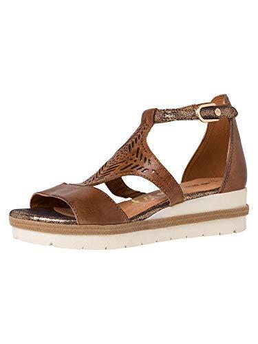 Tamaris Femme Sandales 28228-24, Dame Sandales compensées, Sandales compensées,Chaussures d'été,Confortable,Plat,Nut Comb,39 EU / 5.5 UK