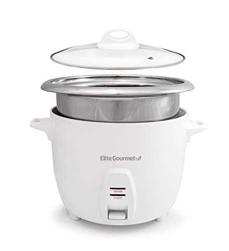 Elite Gourmet ERC-2020 Electric Rice Cooker with Stainless Steel Inner Pot Makes Soups, Stews, Grains, Cereals, Keep Warm Feature, 20 Cups, White