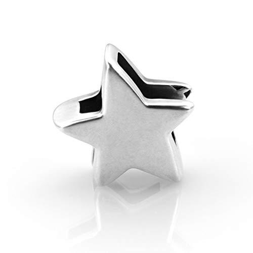 KT-Schmuckdesign Schiebeperle für Lederarmbänder, Stern Symbol, aus versilbertem Metall