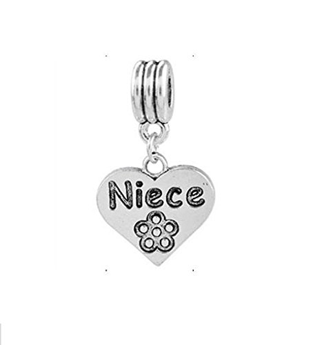 Buckets of Beads Niece Heart Dangle Charm Fits Most Major Charm Bracelets For Women Girls