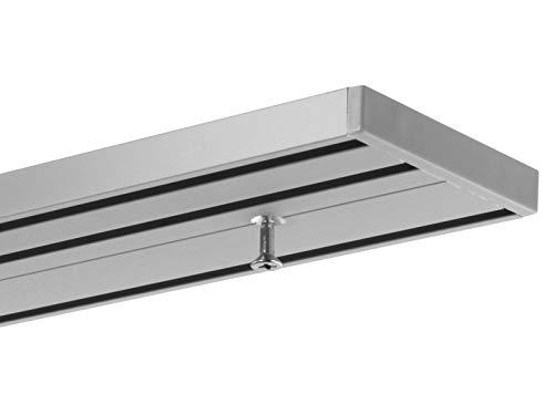 Gardineum Vorhangschiene Gardinenschiene Aluminium alu-silberne Oberfläche 3-läufige Objektschiene - vorgebohrt!-1.40
