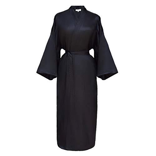 kimono japonés para mujer, bata elegante estilo chino negro