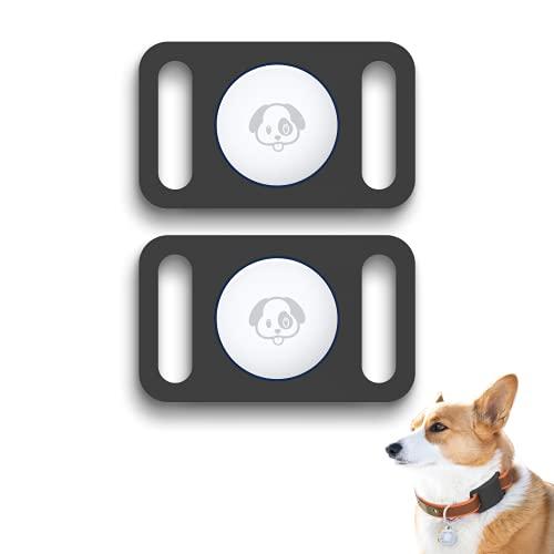 (2 unidades) funda protectora para soporte Airtag, compatible con funda protectora Airtag, funciona con collar de perro y gato y bolsa escolar para niños anti-perdida (negro)