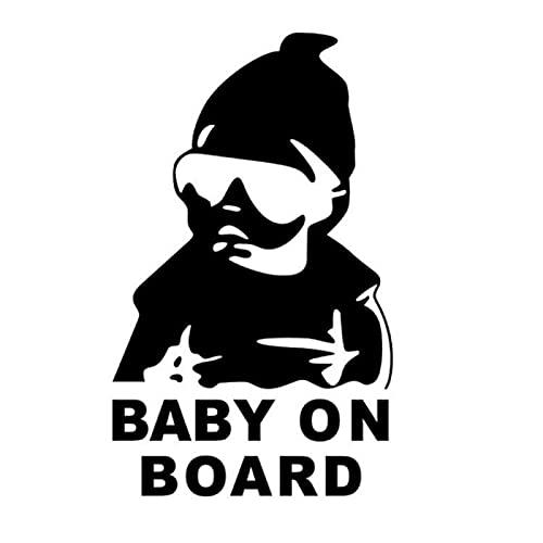 Bonitos pegatinas Etiquetas exteriores para automóviles 14x9cm Bebé a bordo Gafas de sol reflectantes retrofeles frescas para niños pegatinas de coche Advertencia Calcomanías (Color : Black)