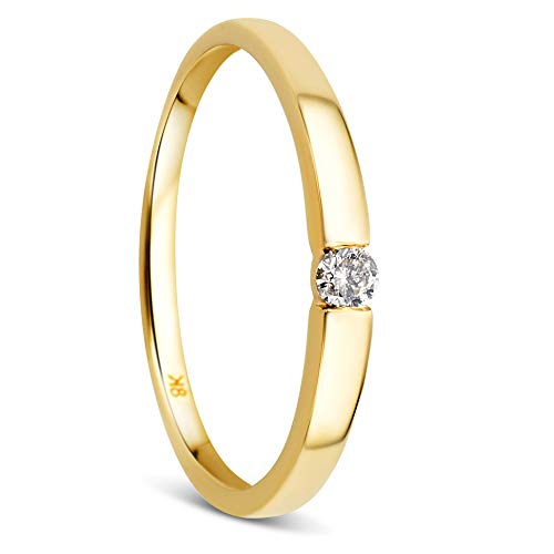 Orovi Damen Diamant Ring Gelbgold, Verlobungsring 8 Karat (333) Gold und Diamant Brillanten 0.05 Ct, Solitärring