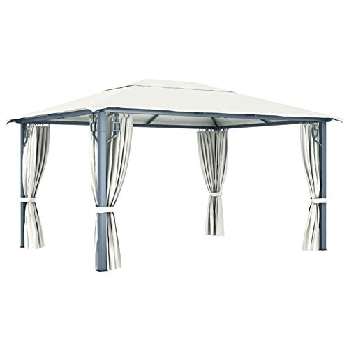 Ksodgun Cenador con Cortina y Tira de Luces Aluminio Marquesina Jardín Cortinas Pergola Cenador Crema 400x300 cm