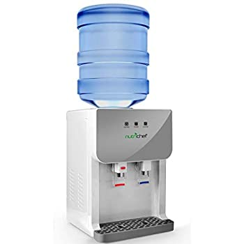 NutriChef Top Loading Compact Mini Desktop/Countertop Water Cooler Dispenser Hot and Cold w/Thermoelectric Cooling Child Safety Lock for 3 or 5 Gallon Bottle/Jug PKTWC36SL Gray