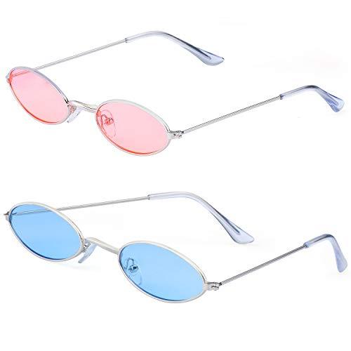 Haichen Vintage kleine ovale Sonnenbrille für Frauen Männer Retro Hippie Brille Metallrahmen Bonbonfarben (Blau + Pink)
