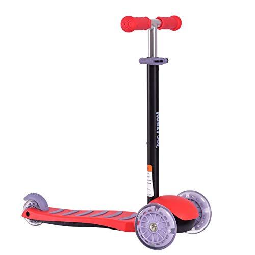 COSTWAY Scooter Roller Kinderroller Tretroller Cityroller Kickroller Kickscooter Dreirad klappbar (Rot)