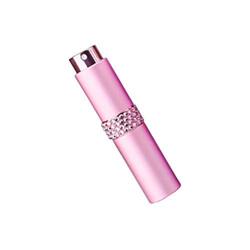 Mobestech Glazen Spuitflessen Reizen Diamant Inlay Lege Verstuiver Pomp Fles Monster Subverpakking Spuitbuis Voor Lotion Parfums Etherische Oliën Vloeistoffen Zeep 8Ml (Roze)
